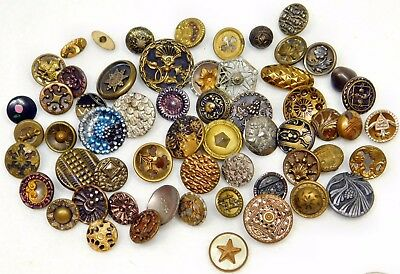 59 Small Metal ANTIQUE Victorian BUTTONS PERFUME  Spindle Star Moon & Star