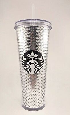 Starbucks 2017 Holiday Silver Sequin 24 Oz Cold Tumbler Cup Limited Edition