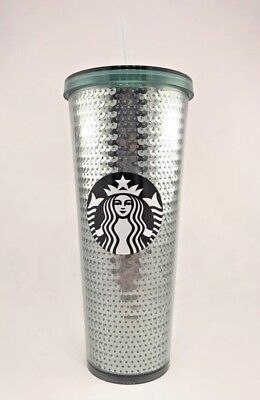 Starbucks 2017 Holiday Green Sequin 24 Oz Cold Tumbler Cup Limited Edition