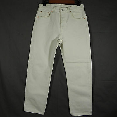 Levis 501 Jeans Mens Denim Pants White Size 33X30 Vintage Original