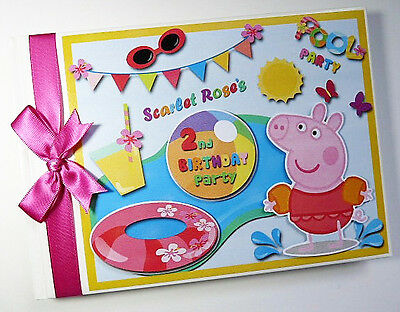 Personalised Peppa Pig Pool Party/girl /first/1St Birthday Guest Book Any Design
