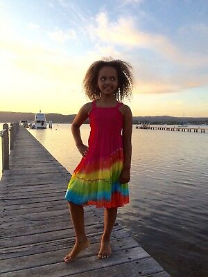 Girls rainbow colourful elastic dress