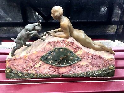 Reduced! Rare French Maury Cavaillon Art Deco Marble Mantel Clock