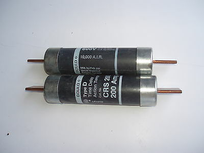 Lot of 2 Gould Time Delay Type D CRS-200 fuses,200 amp 600 volt, 10,000 AIR