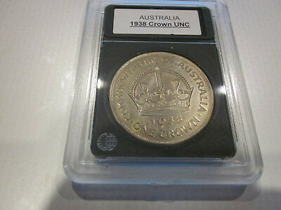 Australian 1938 crown,in Slab folder,UNC RARE Great investment for years to come