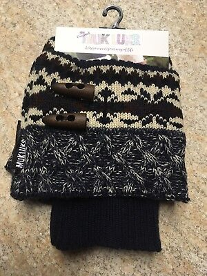 MUK LUKS Women's Lodge Boot Toppers Leg Warmers Ski Sweater Knit W/ Toggles NWT