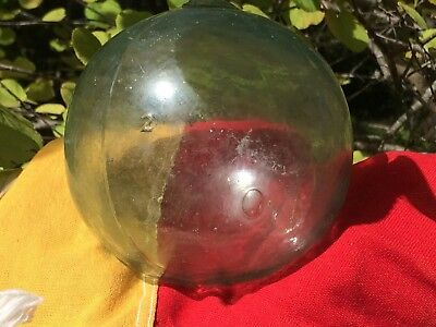 Genuine Antique Vintage Japanese Glass Fishing Float Five Inches Wide Marked # 2