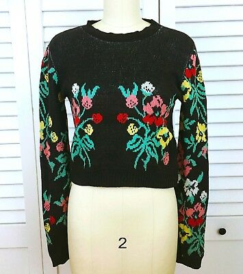 ICONIC 70s ALLEY CAT by BETSEY JOHNSON knit sweater FLORAL black CROPPED top XS