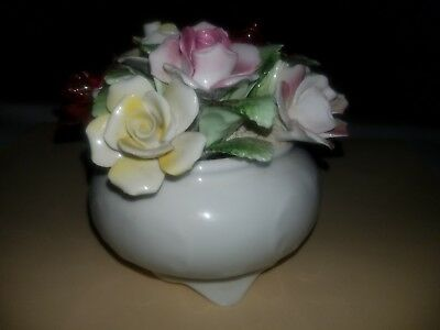 Royal Doulton Porcelain Flowers Bouquet clustered in a small bone china bowl