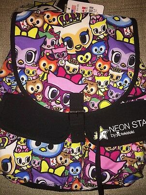 Tokidoki Neon Star Owls Multi Color Drawstring Backpack New With Tags Rare
