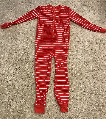 Kids 6 PJs Classic Red Stripe Union Suit Thermal Waffle Pajamas 1-pc Boys Girls