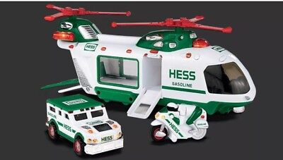 Hess Truck 2001 Helicopter W/ Motorcycle & Cruiser New In Box