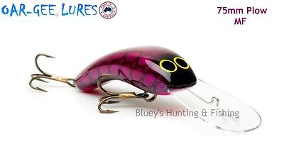 Oar-gee 75mm Plow 7.6m cod, rattle fishing Lure MAUVE FROG col; MF