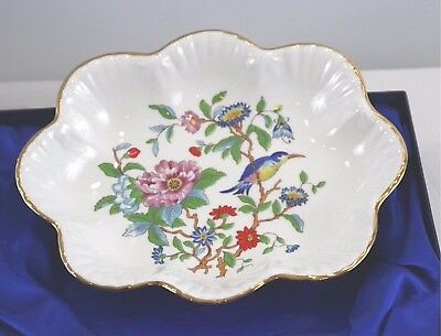 "Aynsley ""PEMBROKE"" Scalloped Fine Bone China Dish and Fork - England - Gold Trim"