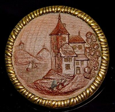 """Large ANTIQUE BRASS Picture BUTTON CASTLE & RIVER Scene Pressed WOOD  1.50"""""""