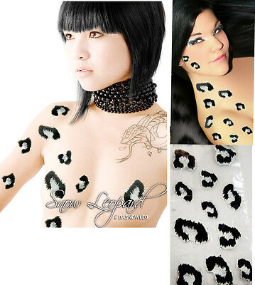 Sexy White/Black Glitter Snow Leopard Spots Body Sticker Art Cheetah Cat Costume