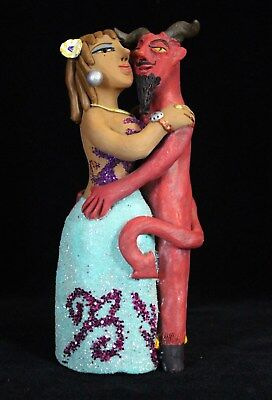 Party Girl & Devil Dancing Leticia Aguilar Hand Made Clay Fig Mexican Folk Art