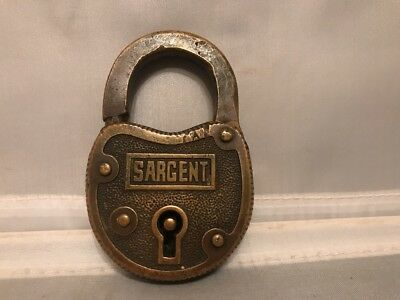 "Antique Collectible Solid Brass SARGENT Padlock 3"" x 2""x 0.5"" no Key"
