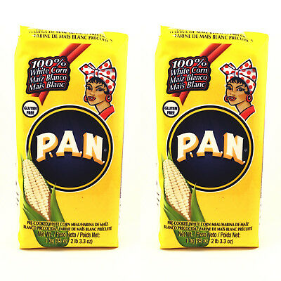 x2 PAN Pre Cooked White Corn Flour Meal Maize 1kg x2