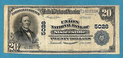 1902 $20 Charter5028 Union National Bank of Sisterville West Virginia Solid Fine