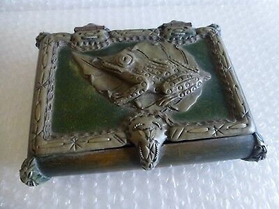 fROG AMPHIBIAN JEWELRY TRINKET COFFEE TABLE BOX WOOD WIRE EMBOSSED RAISED DESIGN