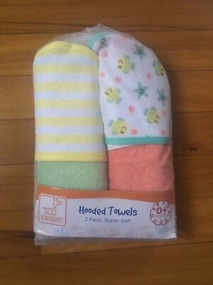Swiggles Baby Bath Set Unisex NEW - Hooded Towels (2 Pack) Yellow Green