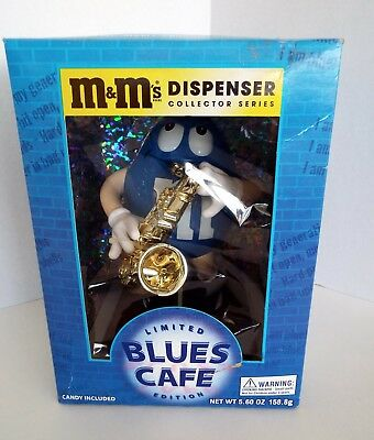 Official M&M's Ltd Edition Blues Cafe Sax Candy Dispenser Collector Series NIB