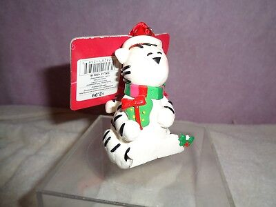 New Merry Brite Cat Novelty Christmas/holiday Ornament With Scarf & Hat