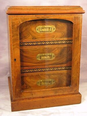 Antique Victorian Vintage Inlaid Walnut Cigar Humidor Smokers Cabinet Box C1900