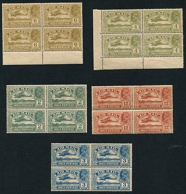 India 1929 George V Air Mail Set In Block Of 4 Mint Cat £ 120++ Rare