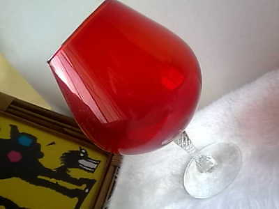 Retro Red Ruby Brandy Balloon Glass Vase