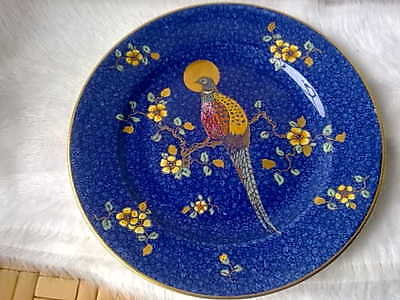 Art Deco Enamelled Peahen Golden Moon Plate George Jones 1930s