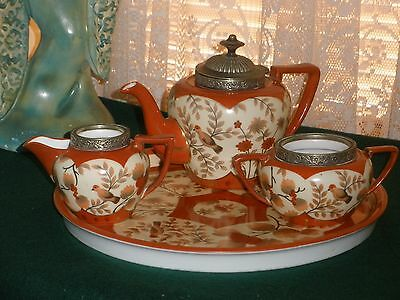 Vintage ORIENTAL Teapot Cream Sugar and Tray Set SILVER PLATED TOPS Bird Pattern