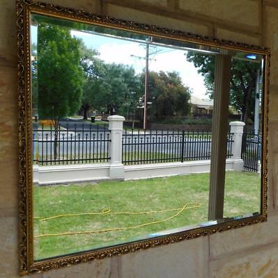 c.1940's Art Deco Ornate Timber Framed Bevelled Edge Wall Hanging Mirror