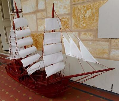 c.1970's Vintage Solid Mahogany Hand Crafted Substantially Huge Spanish Galleon