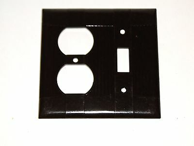 Vintage Brown BAKELITE Rib Double Outlet Light Switch Plate Cover EAGLE