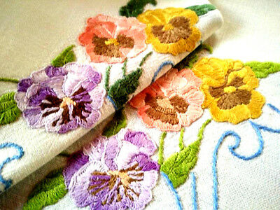 Charming Pansies/Pansy ~ Vintage Hand embroidered Runner/Scarf