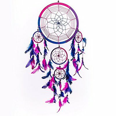 "Caught Dreams Catcher Handmade Traditional Royal Blue, Pink & Purple 10.5"" 27"" X"