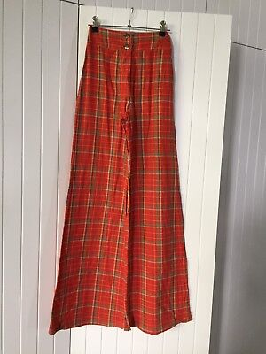 Vintage Retro French Cotton Women's High Waisted Pants Flares