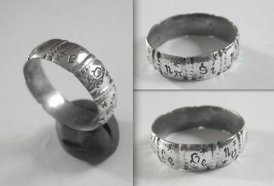 """Renaissance Silver Lawyer's Band Ring inscribed """"NULLA POENA SINE LEGE"""""""