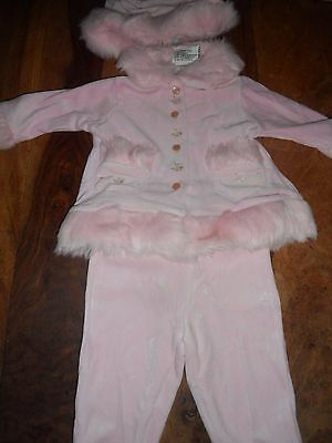 Baby Girls Little Treasure pink velour jacket with faux fur  Size 0