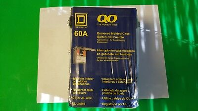 New Sealed Square D 60 Amp 240VAC Single Throw AC Disconnect Switch 2P, QO200TR