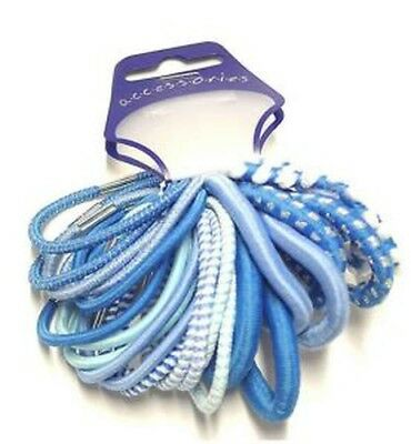 pack of 24 thick blue tone elastics hair ties –hair accessories