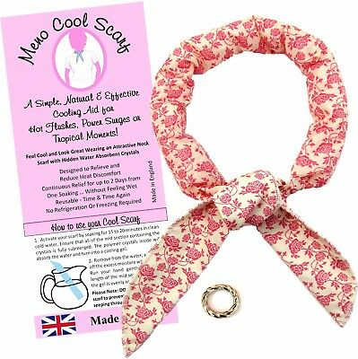 COOLING SCARF GEL NECK WRAP REUSABLE NON TOXIC MENOPAUSE HOT FLUSHES PINK Floral
