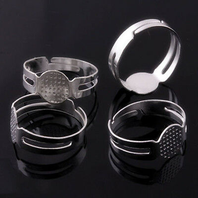 100Pcs 16mm Silver Plated Adjustable Flat Pad Ring Bases DIY Blank Findings、Fad
