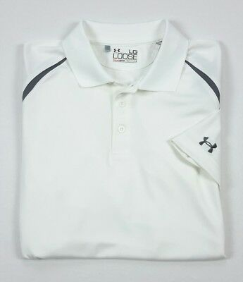 Under Armour UA Mens HeatGear White Short Sleeve Golf Polo Shirt Large Loose