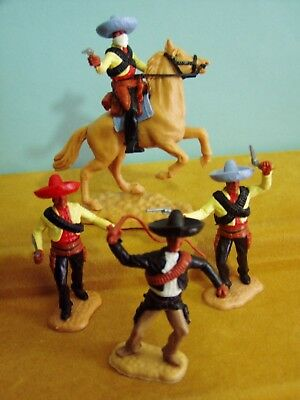 Timpo Wild West 3 Standing Mexicans & 1 Mounted Mexican 'bandit' #1