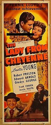 THE LADY FROM CHEYENNE, 1941, Loretta Young Western Scarce UNFOLDED US Insert  *