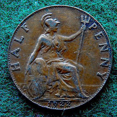 1922 UK Great Britain Half Penny Coin SB3768