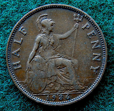 1936 UK Great Britain Half Penny Coin SB3783